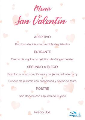 Menú San Valentín - Acqua Restaurant