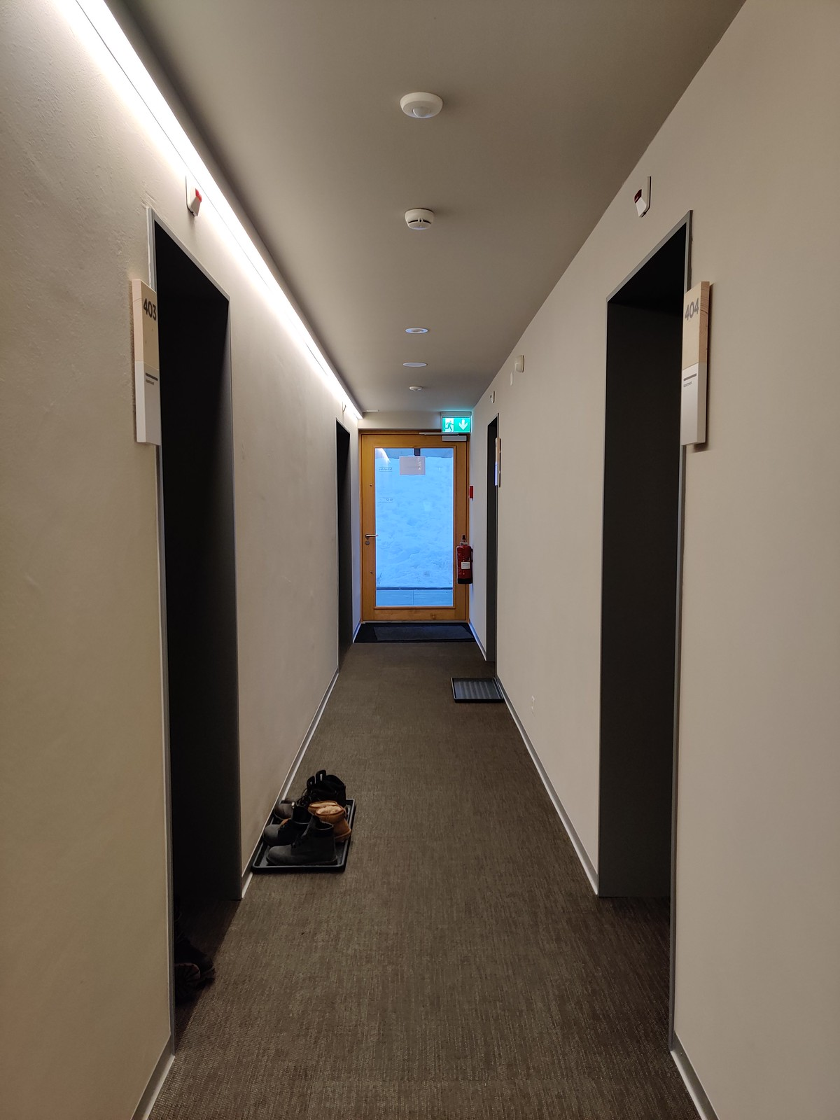 Corridor with rubber mats