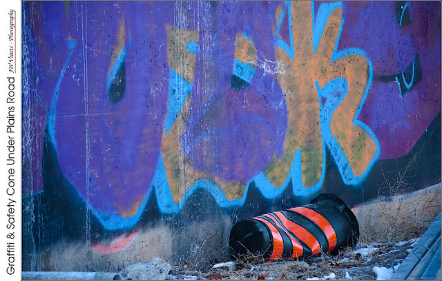 Graffiti & Safety Cone Under Plains Road