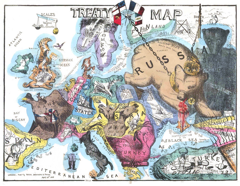 British satirical propaganda map of Europe at the end of the Crimean war (1856 )