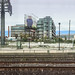From the GO Train, Eastbound at Exhibition Station, Toronto, Canada, 11 Oct. 2018 (Panorama 1x4)