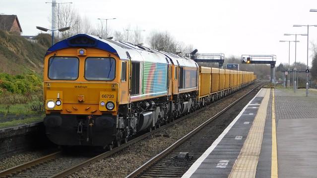 66720 + 66766 - Small Heath, West Midlands
