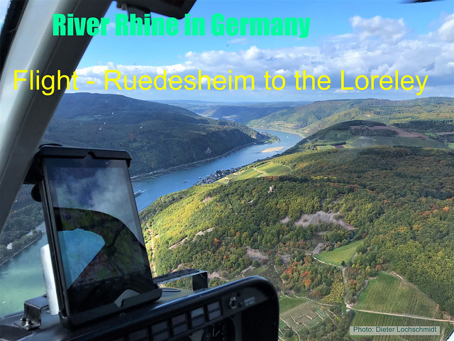 Helicopter Flight from Ruedesheim along the River Rhine to the Loreley Mountain and back