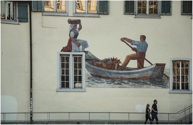 234- GRAFITI  A ORILLAS DEL RIO  LIMAGO - ZURICH -