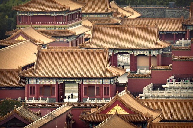 Forbidden City palace gates and traditional Chinese architecture, Beijing, China