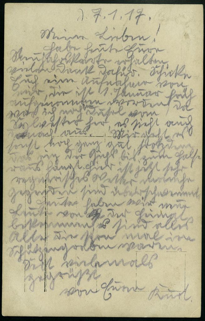 ArchivV70 Soldat (back), WWI, Grüße vom 7. Januar 1917