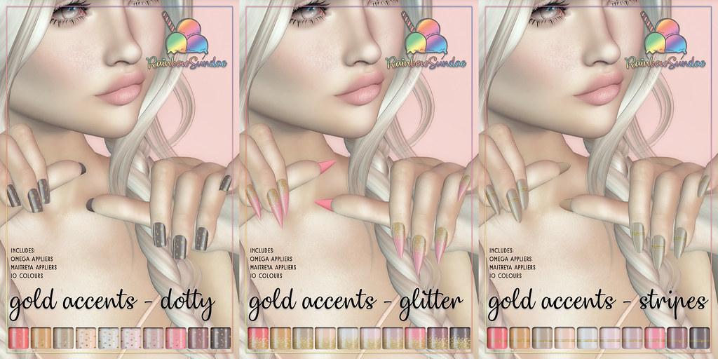 *Rainbow Sundae* Gold Accents Nails @ Flourish Sales Studio