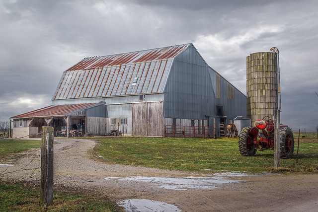 Amish Barn and Tractor