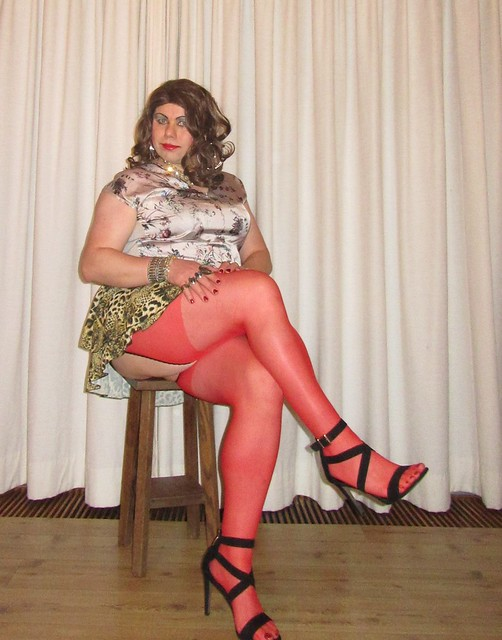 red nylons and cougar skirt