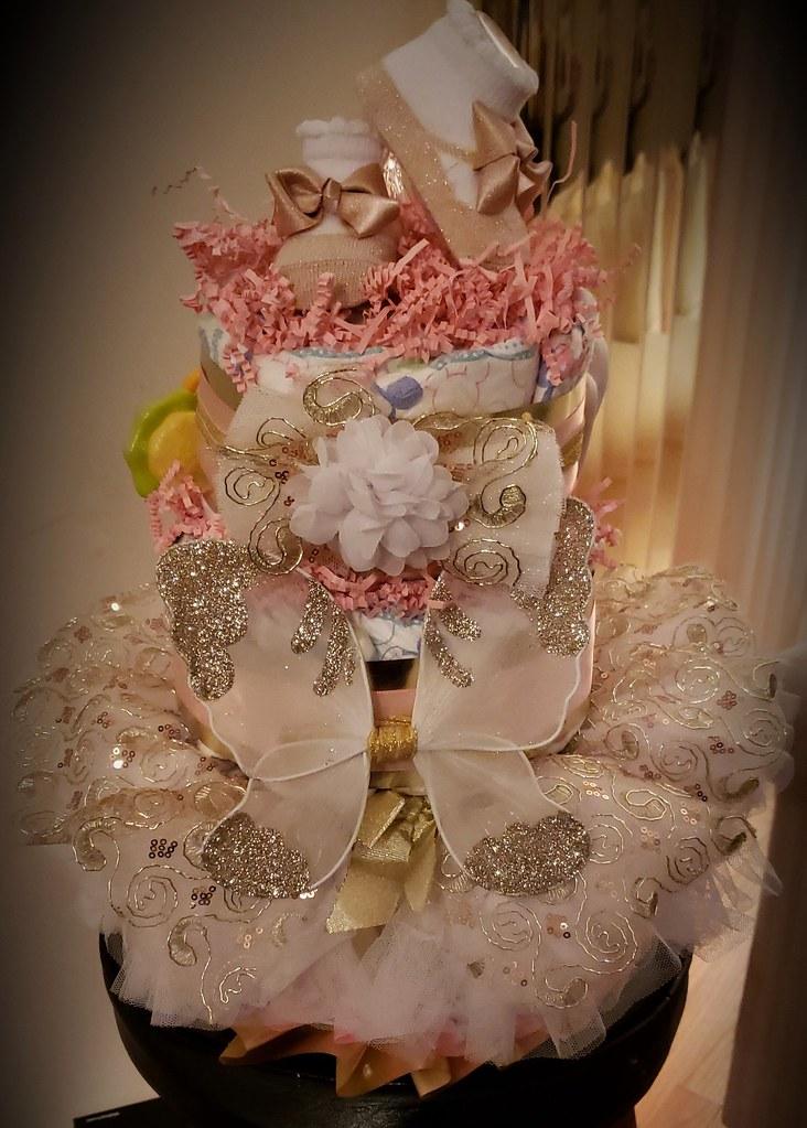 Angel wings 3 tier diaper cake