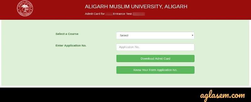 AMU 2020 admit card login