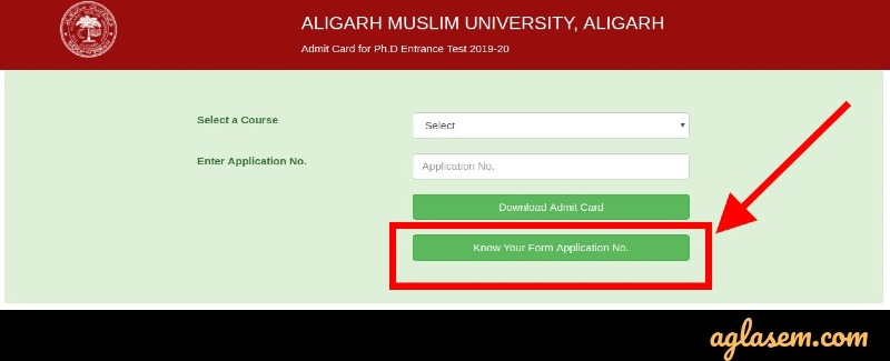 AMU Login Find appliation number