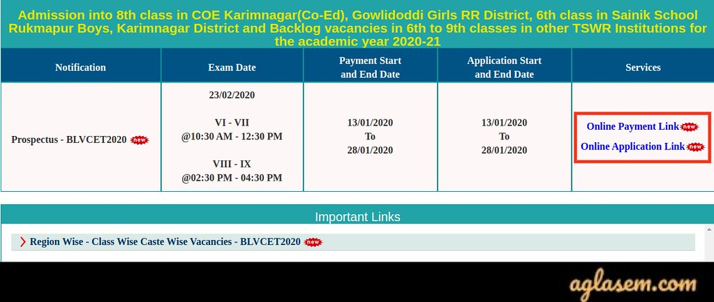 Telangana BLV CET 2020 Online Application Form