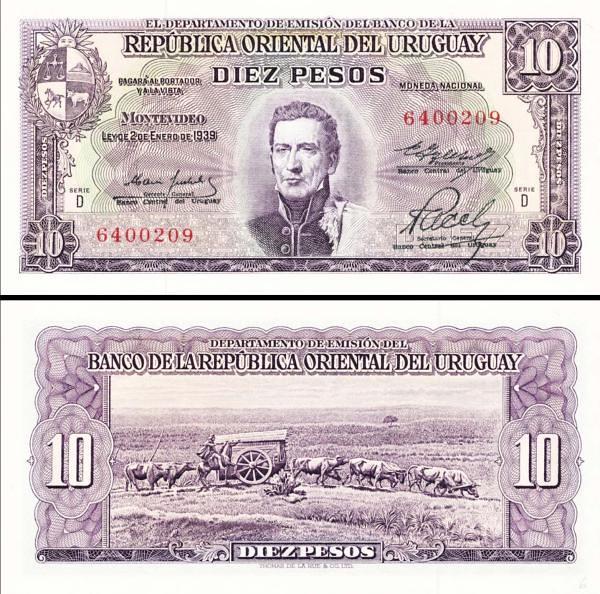 10 Pesos Uruguay 1967, P42b