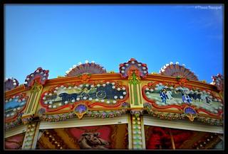 Scènes bucoliques en haut du carrousel
