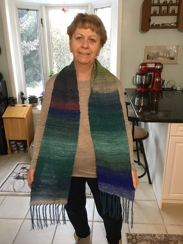 Diane showing off the scarf she wove during last Sunday's Weaving Workshop!