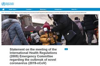 Declaración de la OMS sobre 2019NCoV