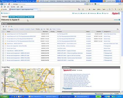 Appian 6 composite app including the ubiquitous Google map