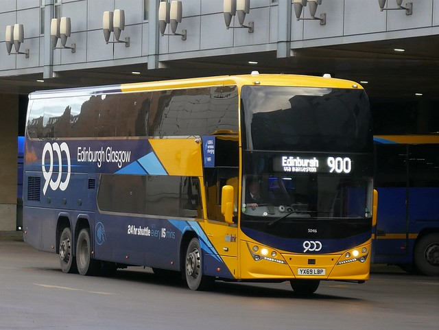 Stagecoach West of Scotland Volvo B11RLET Plaxton Panorama YX69LBP 50416, new in January 2020, in Citylink route 900 branding, operating service 900 to Edinburgh at Edinburgh Bus Station on 22 January 2020,