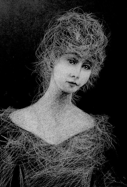 Experimental Art. Portrait. White pencil drawing on black card by jmsw. Last stage of 2.