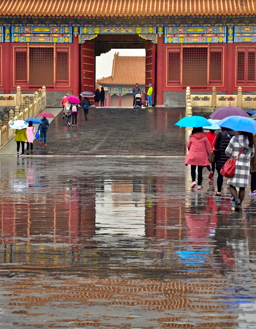 Forbidden City palace in the rain