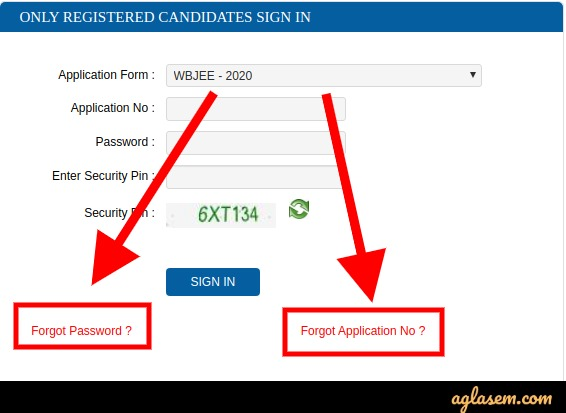 WBJEE forgot login details