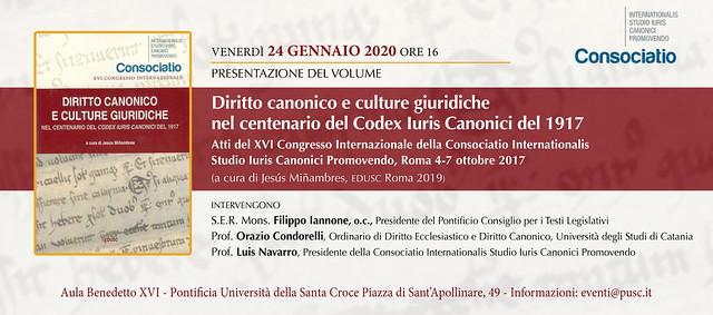 """Presentazione del volume """"Diritto canonico e culture giuridiche nel centenario del Codex Iuris Canonici del 1917"""""""