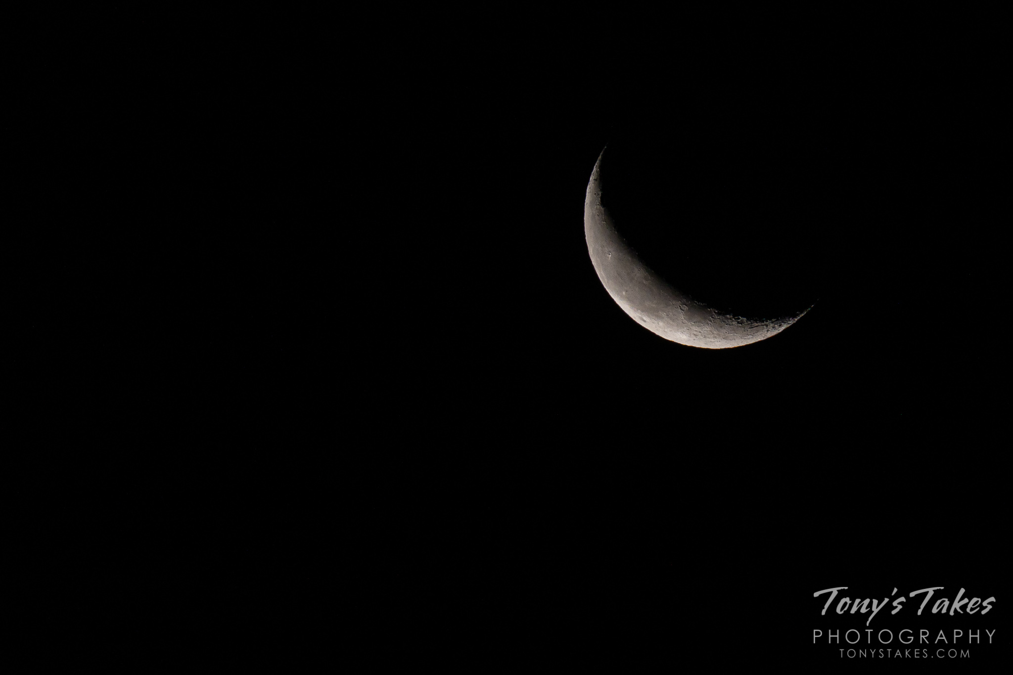 A rising sliver of a moon
