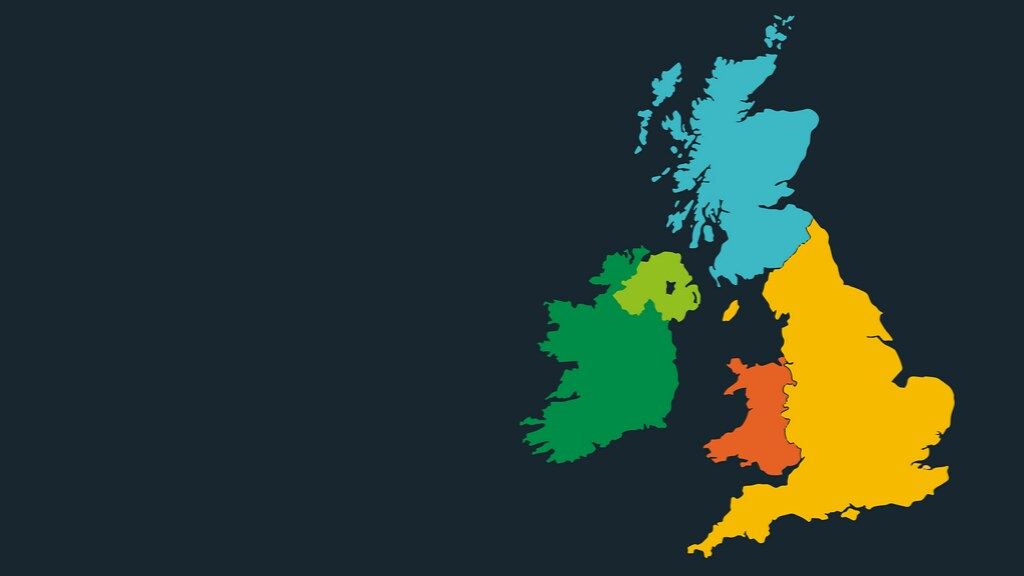 A coloured map of the United Kingdom