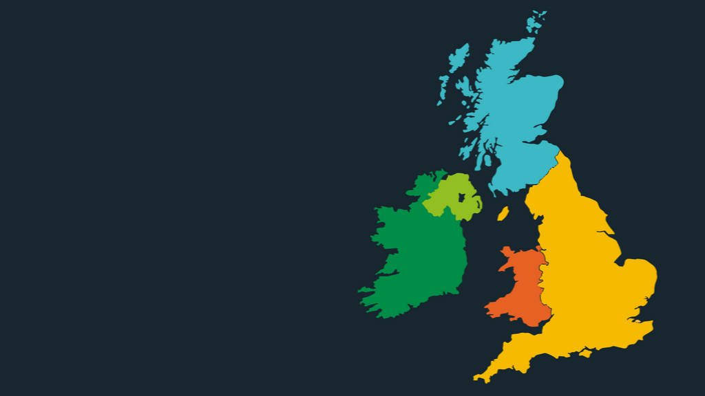 A colour map of the United Kingdom on a dark grey background