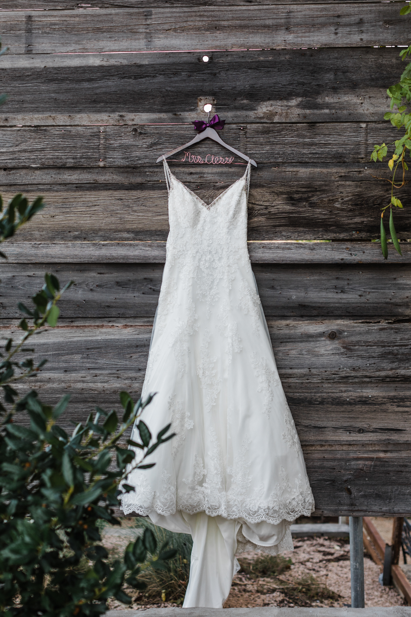 wedding dress on hanger