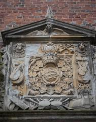 Armes des rois de Danemark, cour intérieure, château de Frederiksborg (XVIe-XVIIe), Hillerød, Sélande, Danemark.