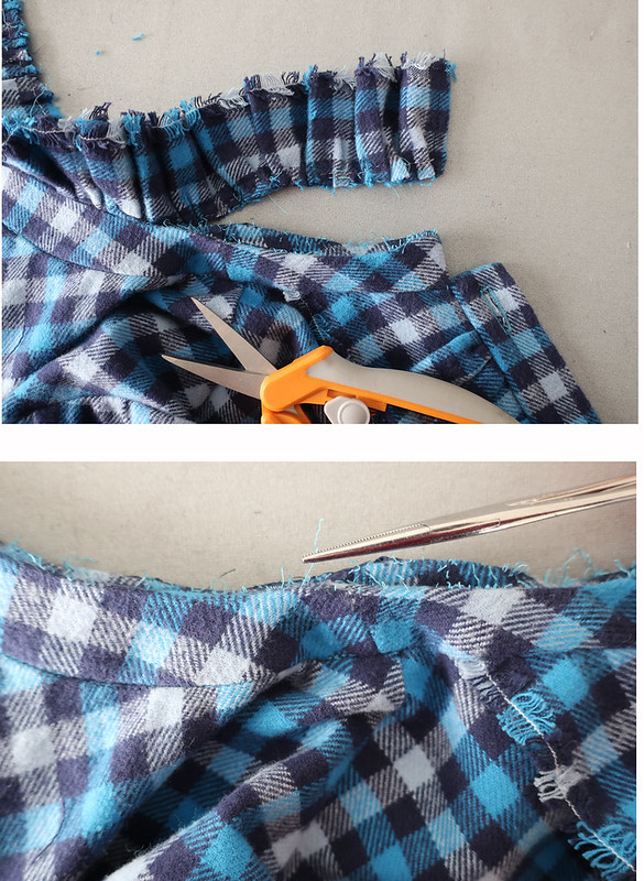 plaid flannel removing ruffle