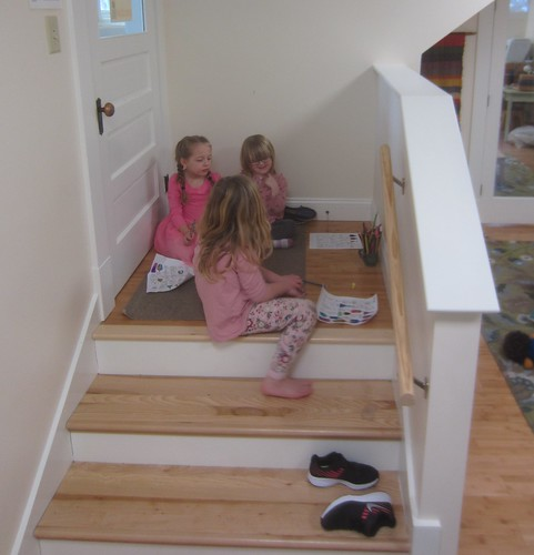 coloring on the cozy stairs
