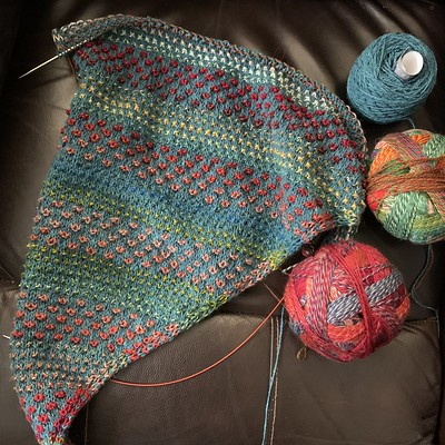 "Love the way those ""blips"" pop in my Nightshift Shawl by Andrea Mowry! Our Nightshift KAL has begun!!"