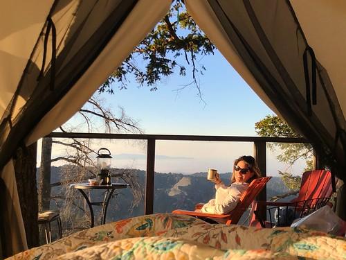 iphonephotography travel vacation unitedstates morningcoffee wakeup bed morning fog montereybay skyline lagolomitavineyards pacificcoast treehouse airbnb california usa
