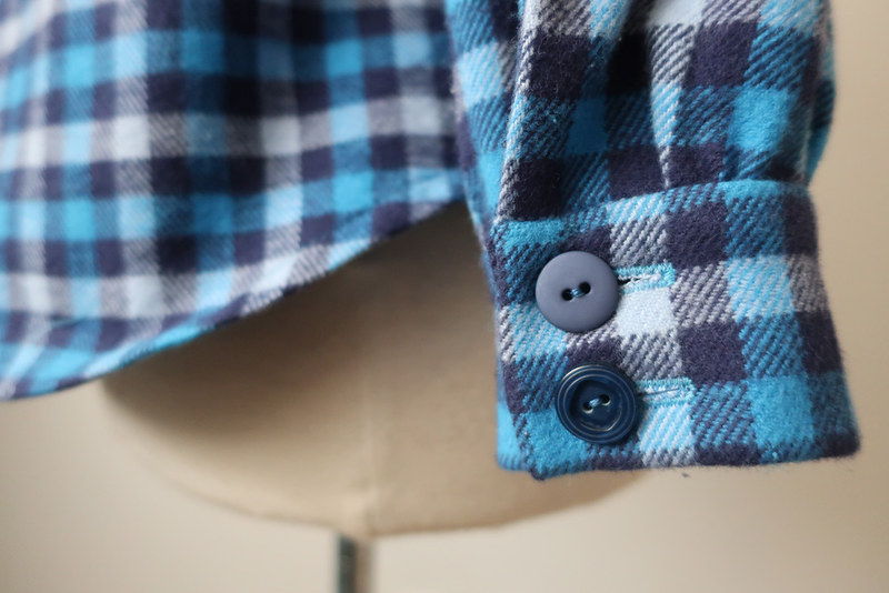 plaid flanned button cuff