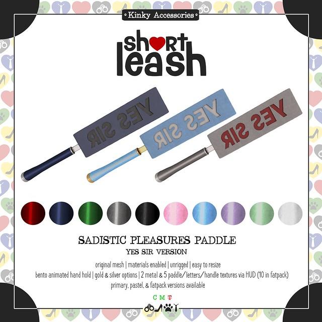 .:Short Leash:. Sadistic Pleasures Paddle - Yes Sir Version
