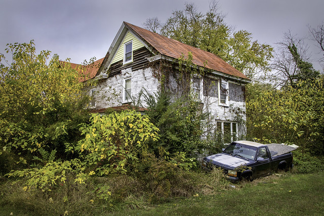 Abandoned house and truck.