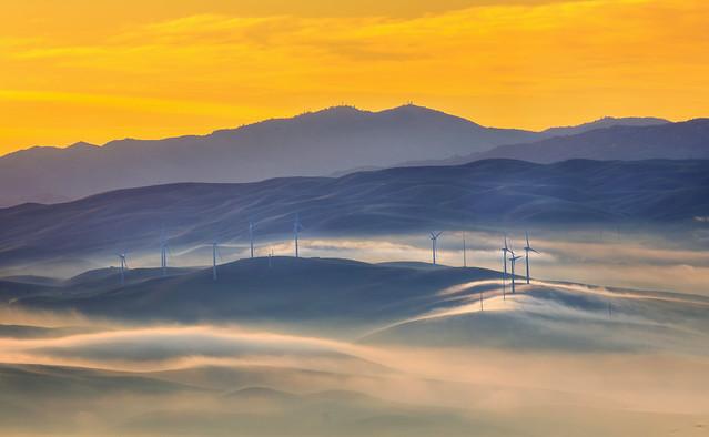 Fog Rolling Windmill Hills