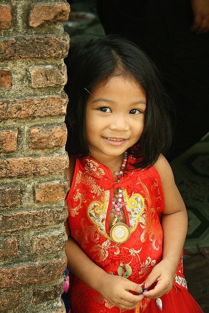 cute girl dressed for chinese new year
