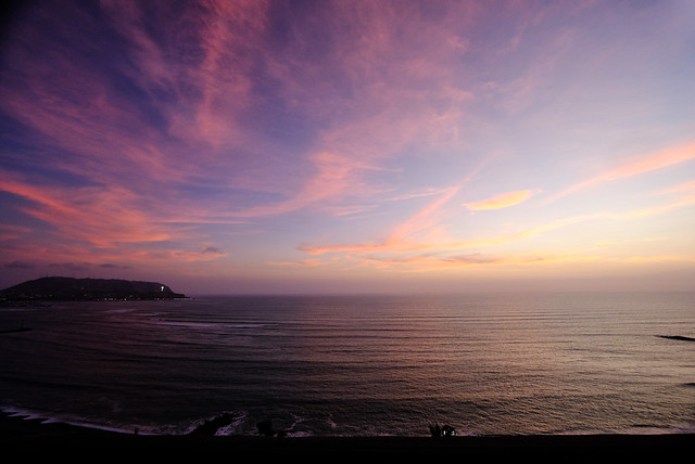 Sunset at the beach in Lima, Peru
