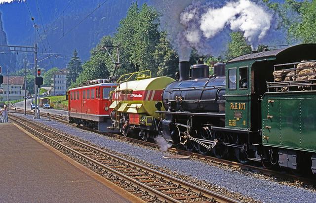 R11664.  RhB 107 & 703 at Thusis.