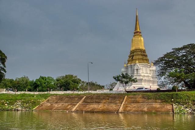 Chedi Phra Si Suriyothai by the Chao Phraya river in Ayutthaya, Thailand