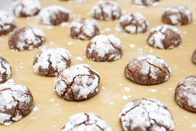 Chocolate Almond Crinkle Cookies during holiday baking