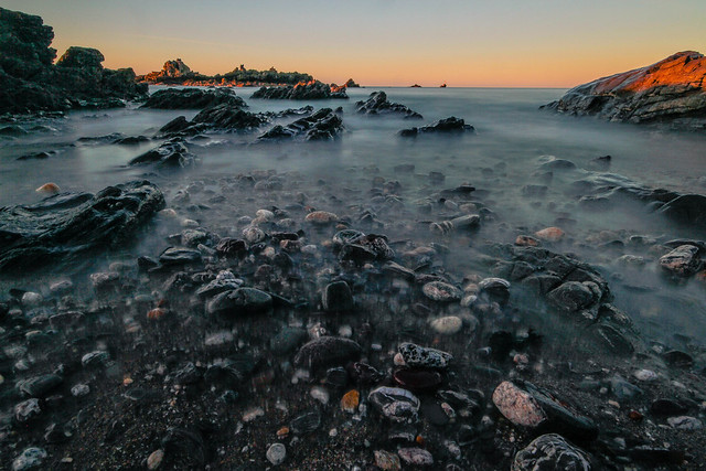 First light on the rocks