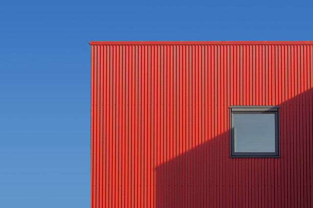 Red facade with shadowplay