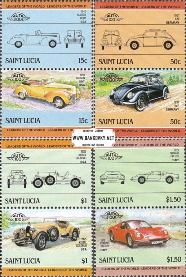 Známky Svätá Lucia 1985 Automobily