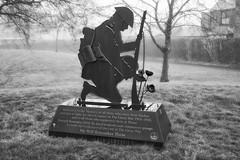 Monument foggy bw