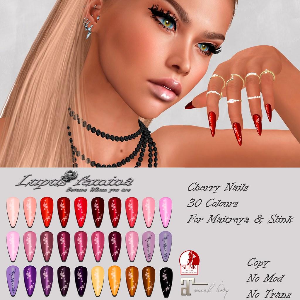 """Lupus Femina"" Cherry Nails – slink/Maitreya"